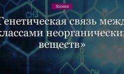 Генетическая связь между классами неорганических веществ (химия, 11 класс)