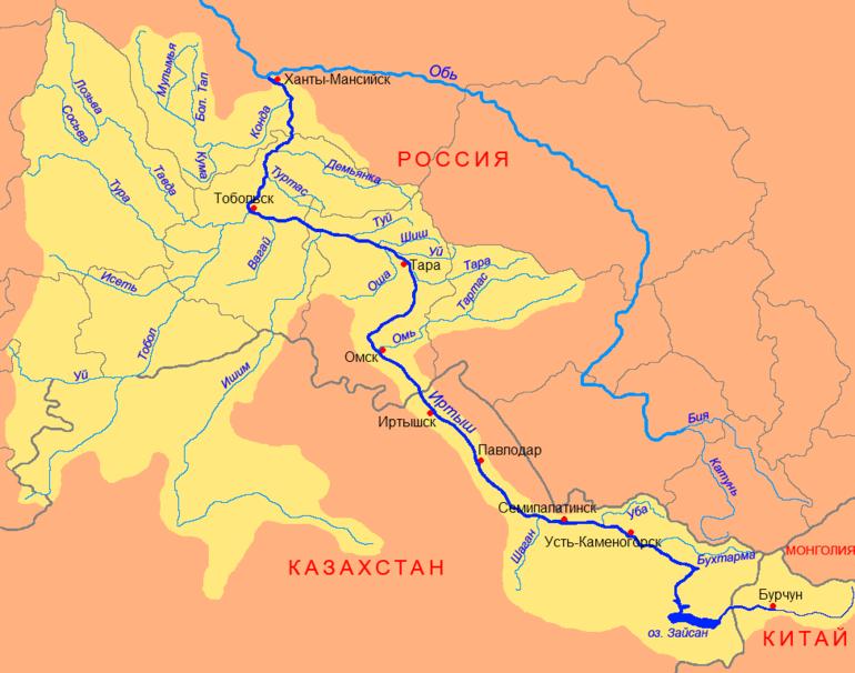 Река Иртыш - географические характеристики, протяженность и притоки