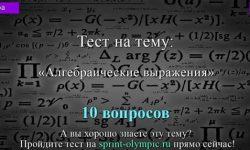 Алгебраические выражения