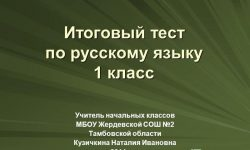 Русский язык. 1 класс. Звуки и буквы. Итоговый тест №2.